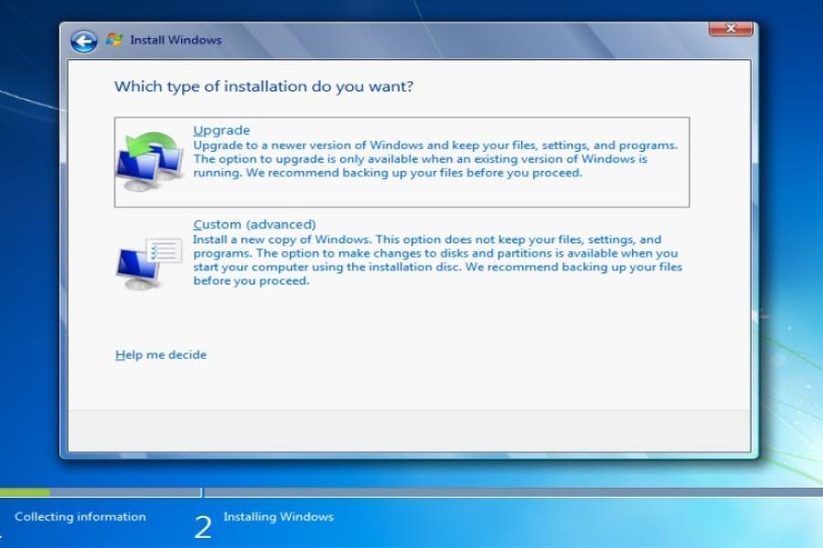 ما الفرق بين upgrade و custom عند تنصيب الويندوز