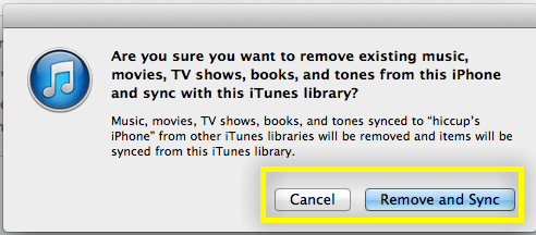 are you sure you want to remove existing music