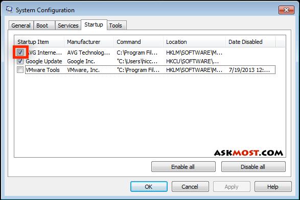 الغاء برامج بدء التشغيل ويندوز 7-٢