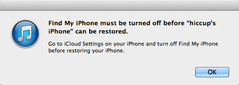 find my iphone must be turned off-١