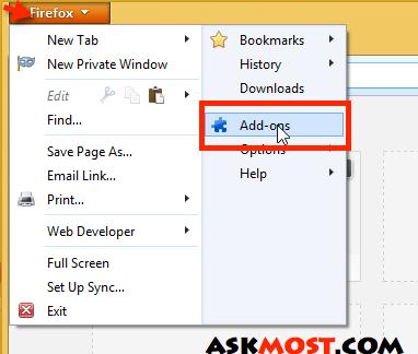 كيفية حذف الاضافات من فايرفوكس
