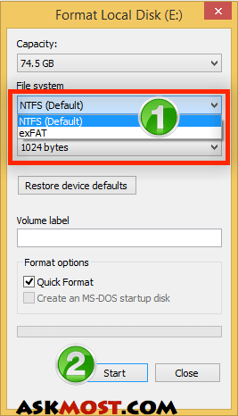 عمل فورمات للفلاشة بنظام ntfs