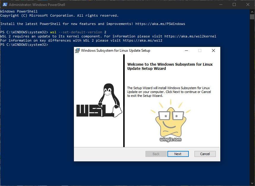 التحديث للإصدار الثاني من بيئة لينكس wsl2 بويندوز 10