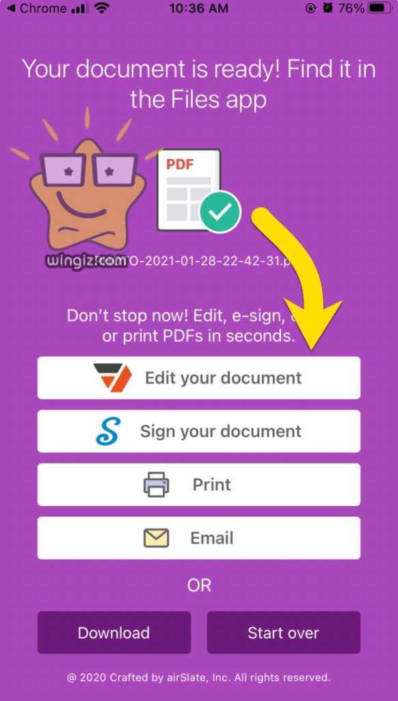 يمكنك حفظ او طباعة ملف PDF