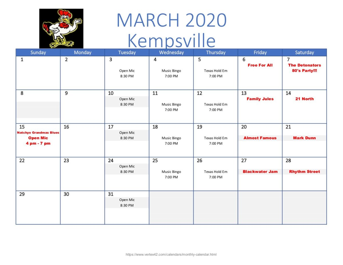 Wing King Kempsville March Calendar