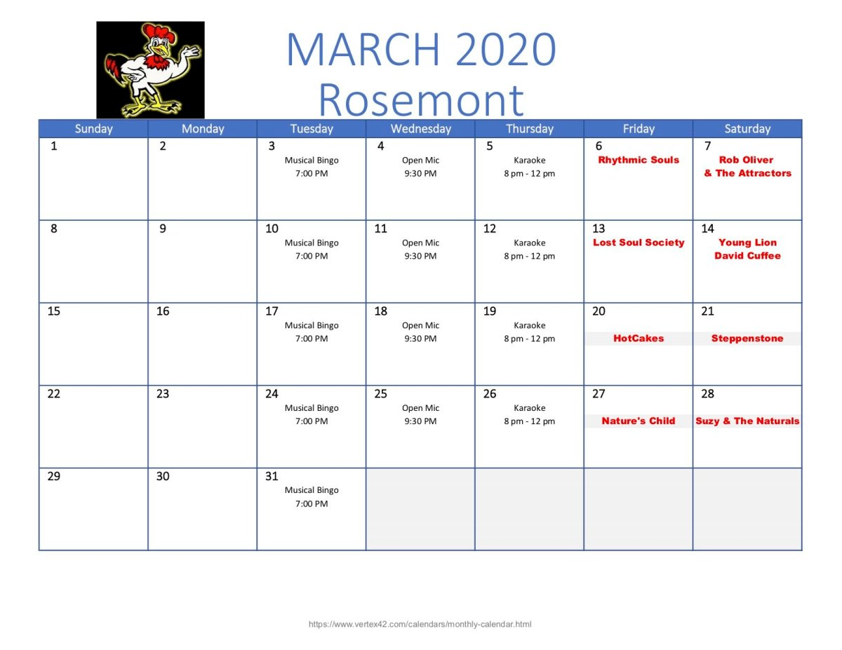 Wingking Rosemont March Calendar