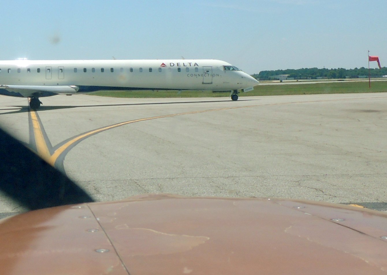 Waiting for traffic to pass at Greensboro....... (Ready to depart for home)