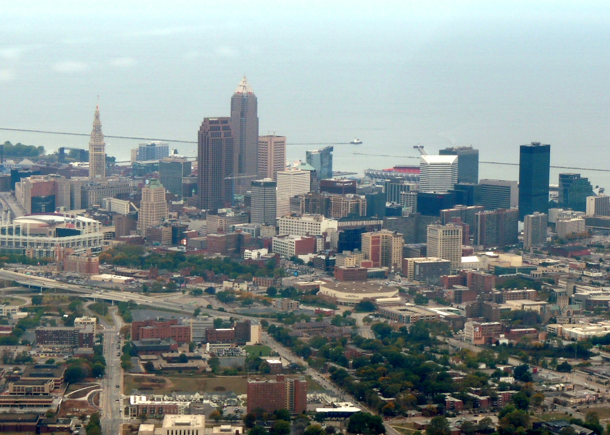 Cleveland Ohio with Lake Erie in the background