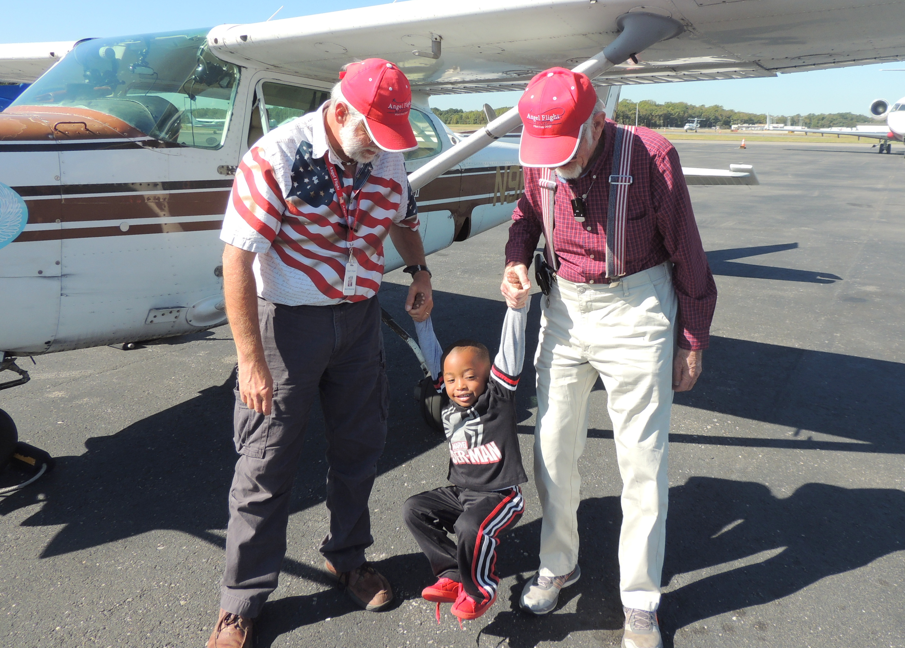 With Little Mr Daniel (One of our past Angel Flight Passengers)
