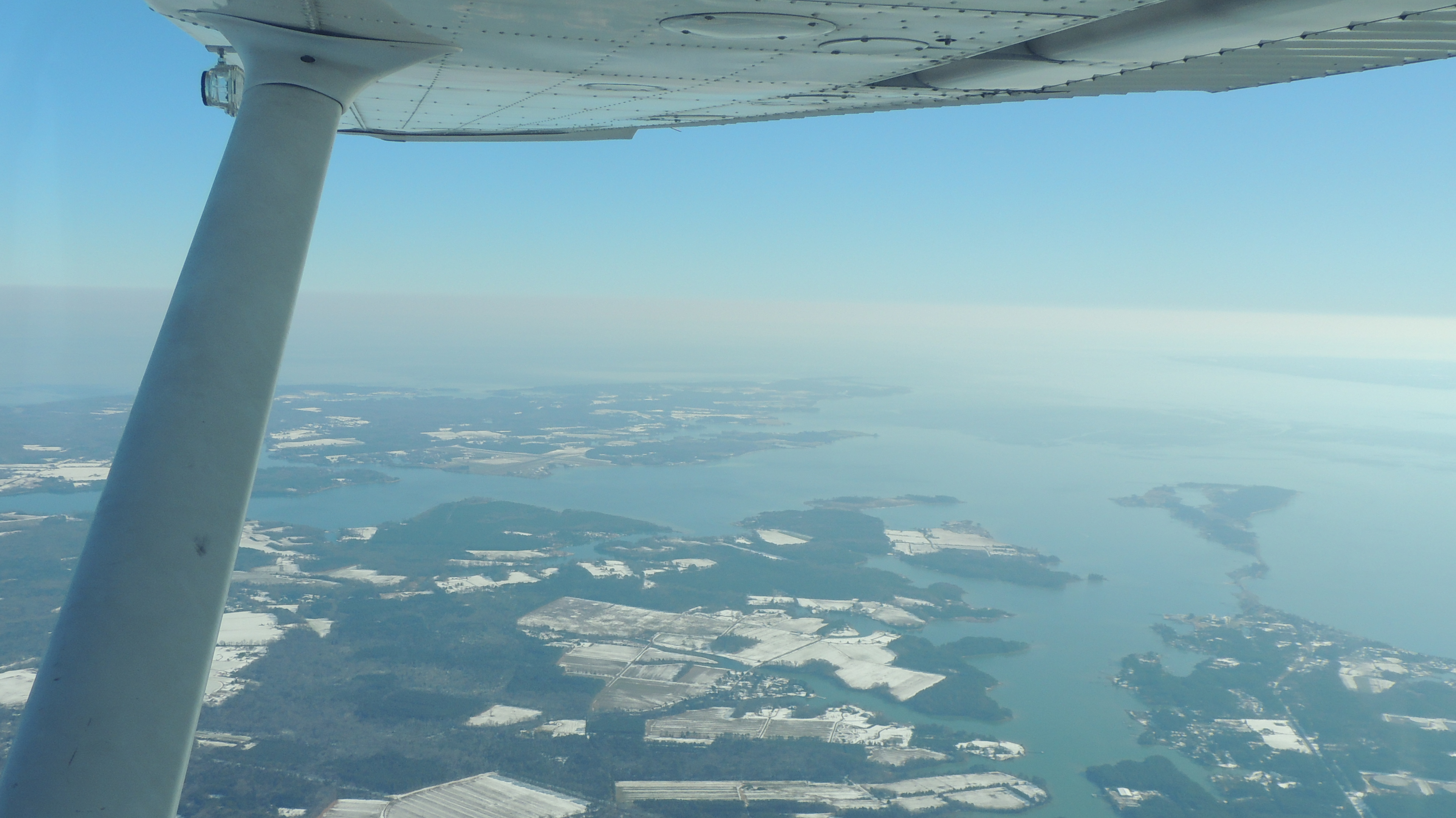 Over St. Marys County looking east towards Point Lookout