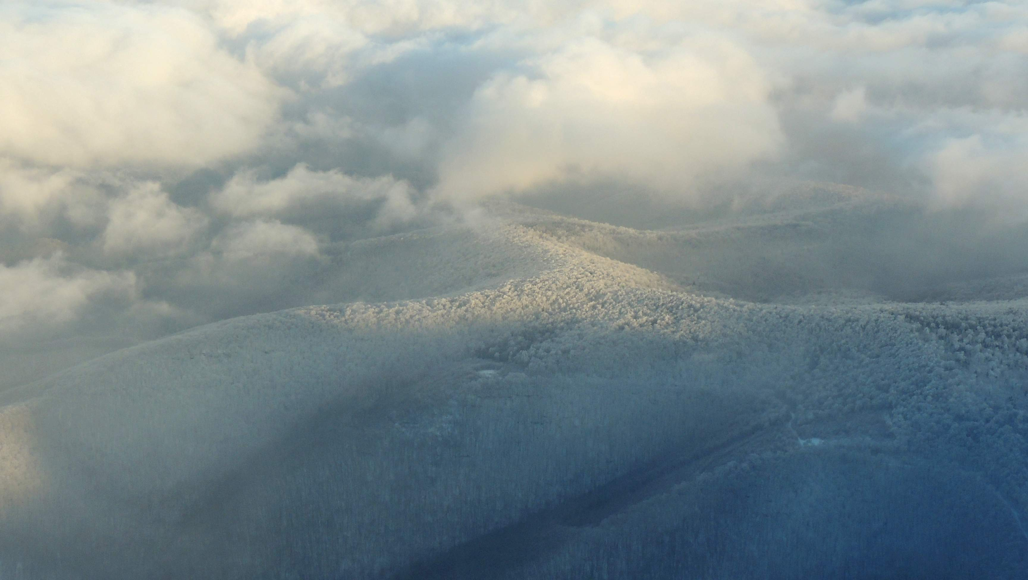 Over the frosted Appalachian Mountains of West Virginia