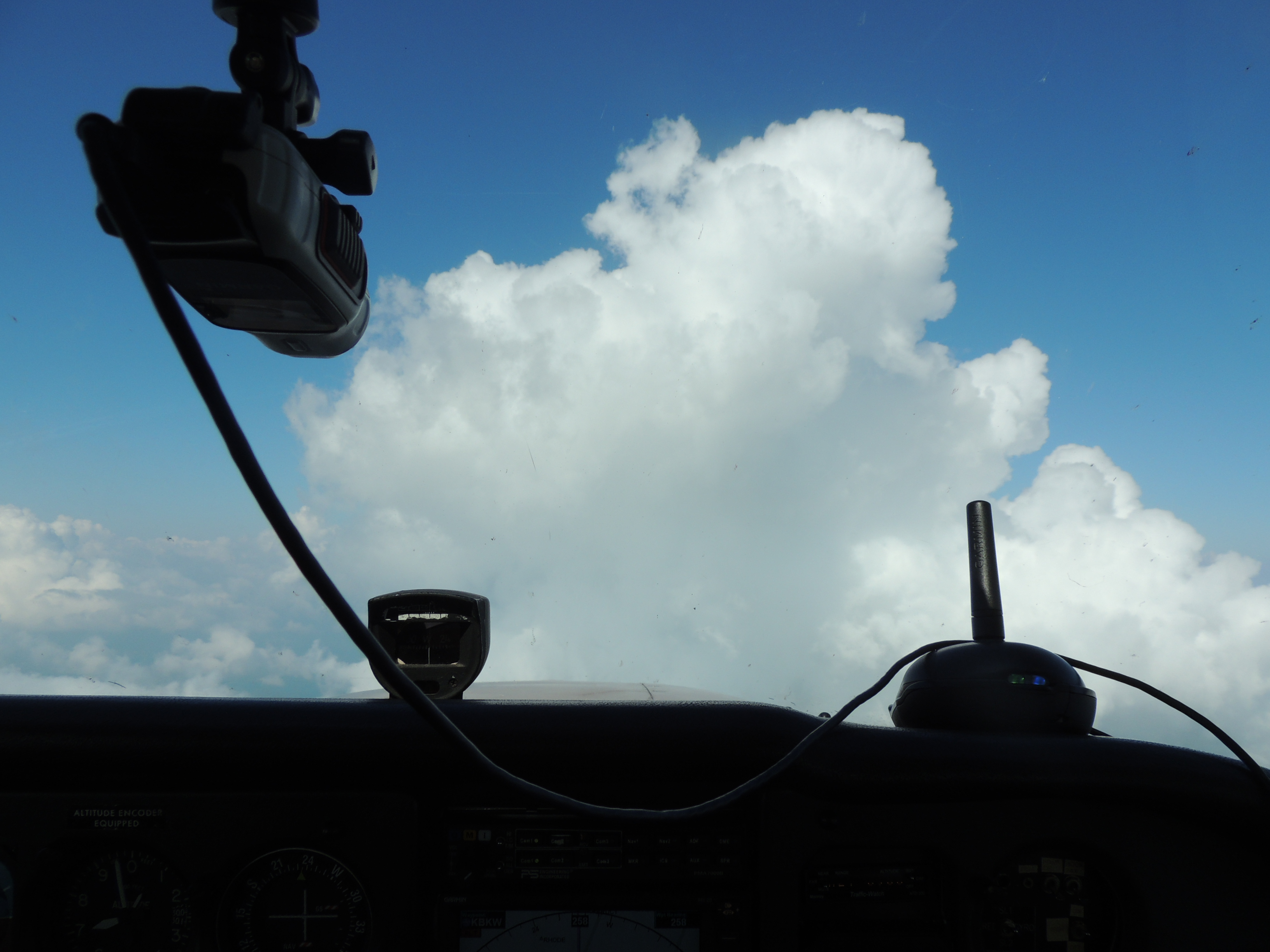 Heading thru some clouds at 7000 feet on our way to Beckley WV
