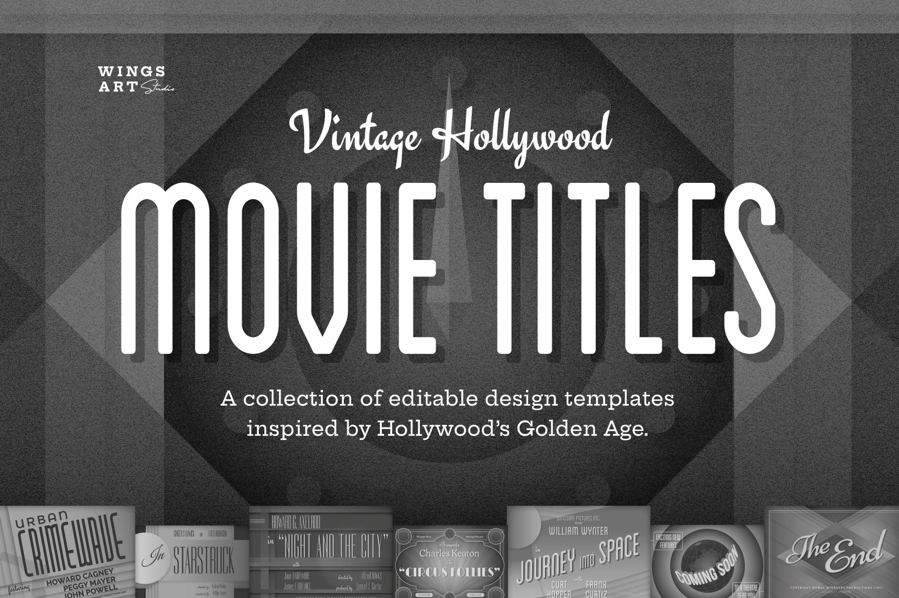 Vintage Hollywood Movie Title Design Templates for Photoshop and Illustrator