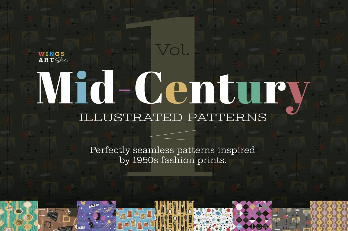 1950s Style Seamless Patterns