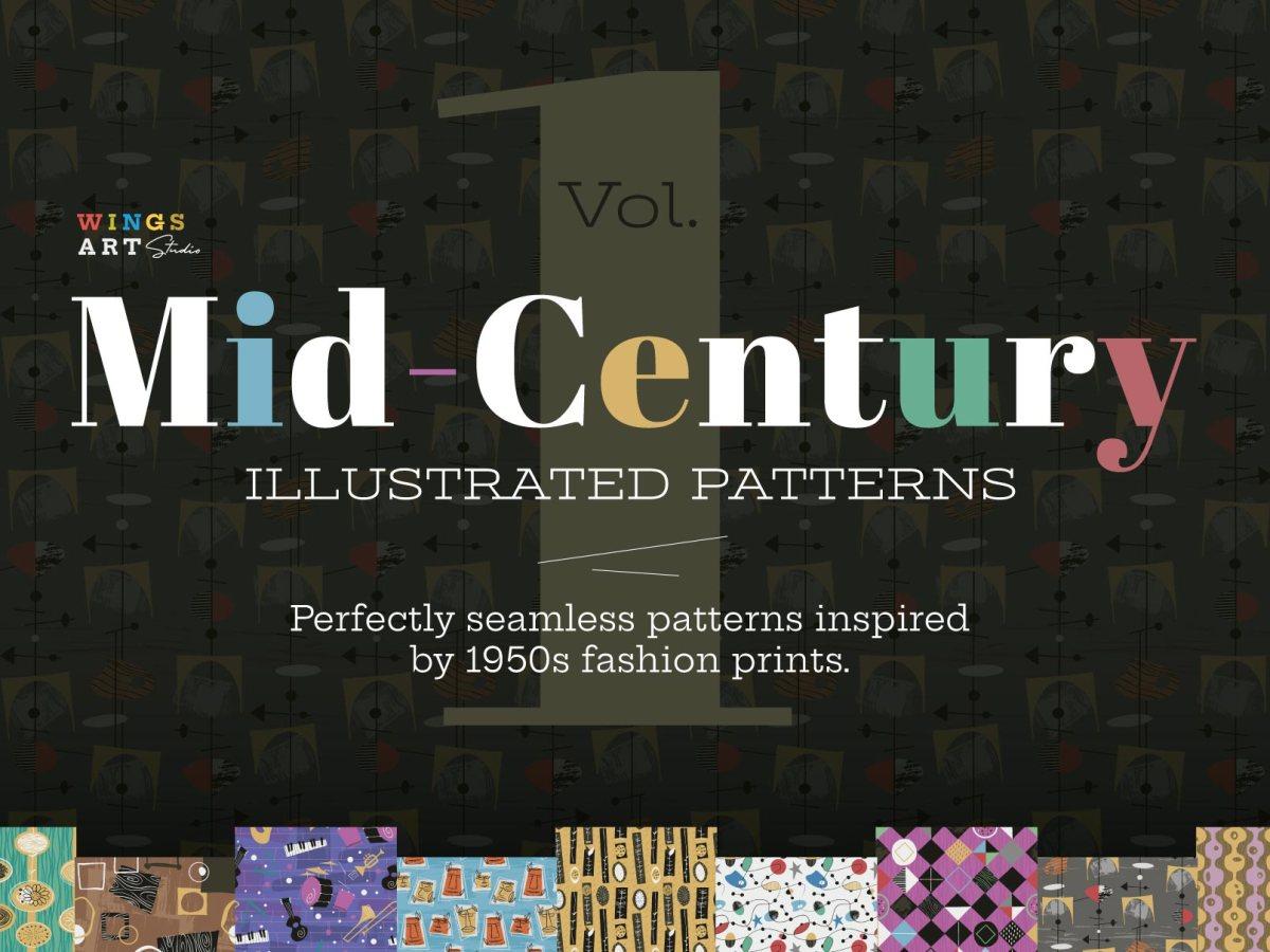 1950s Style Seamless Patterns