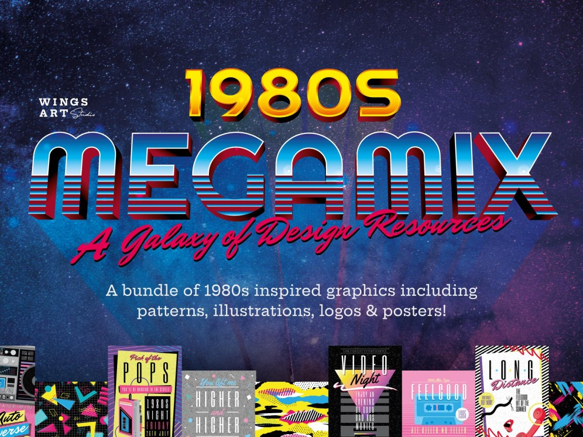 1980s Retro Graphics and Design Templates by Christopher King