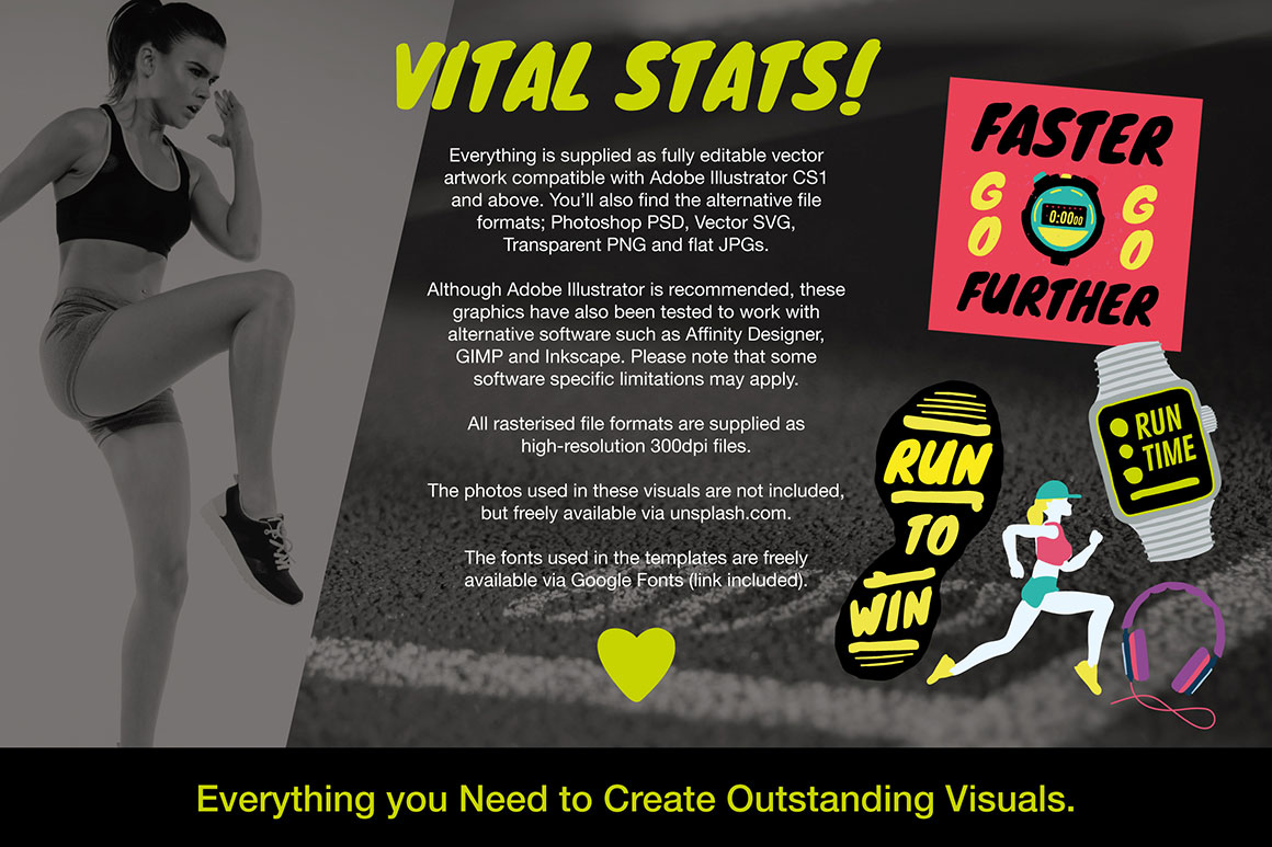 Running and Fitness Achievement Graphics