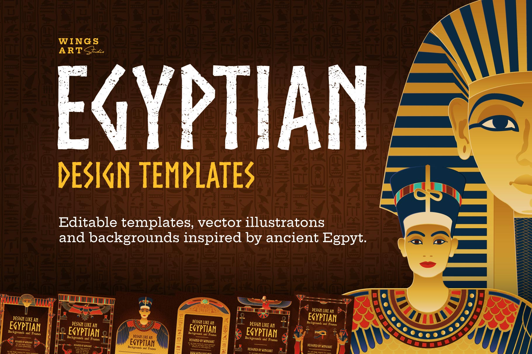 Ancient Egypt Vector Illustrations and Design Templates