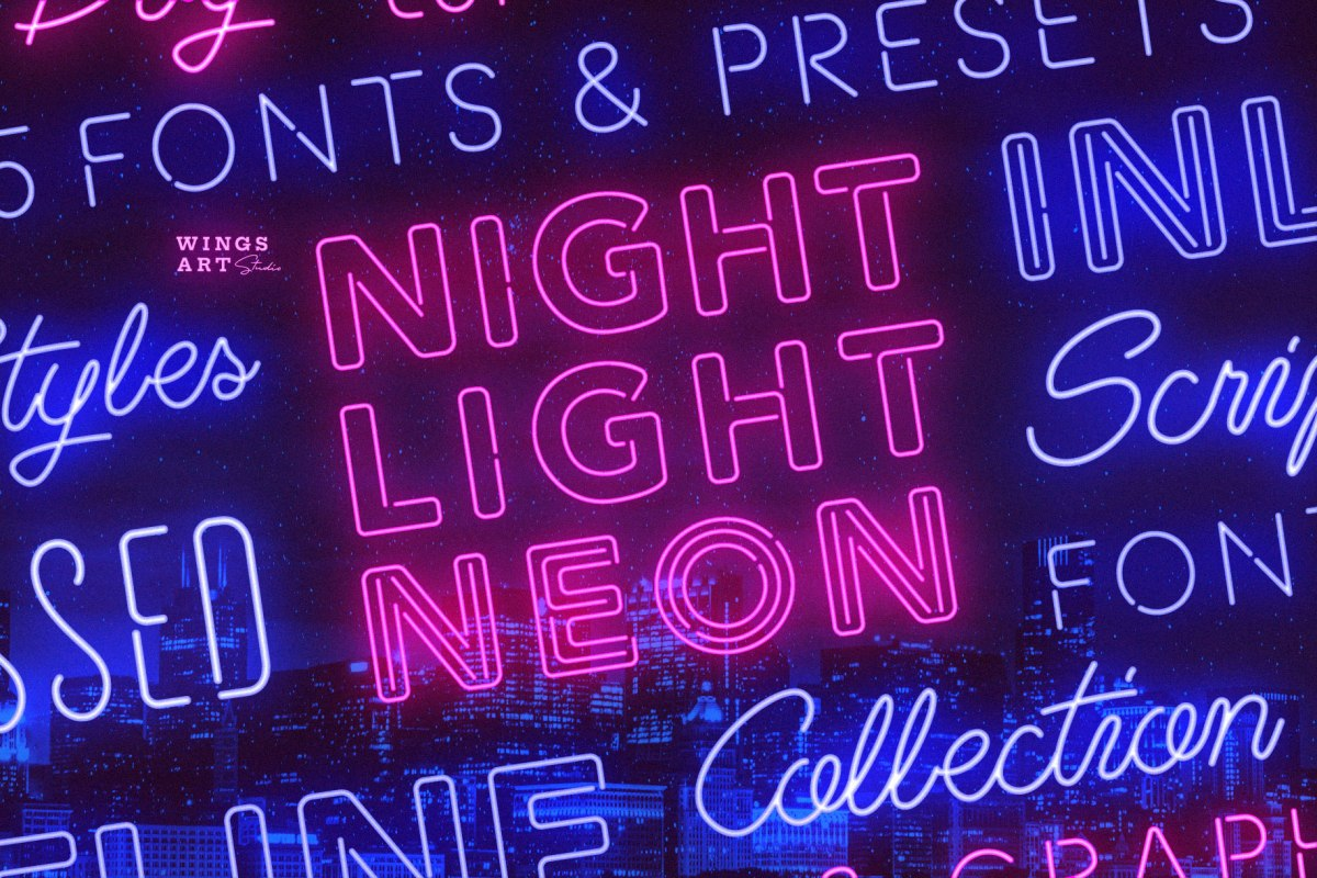 Retro Neon Font Collection by Wing's Art Studio