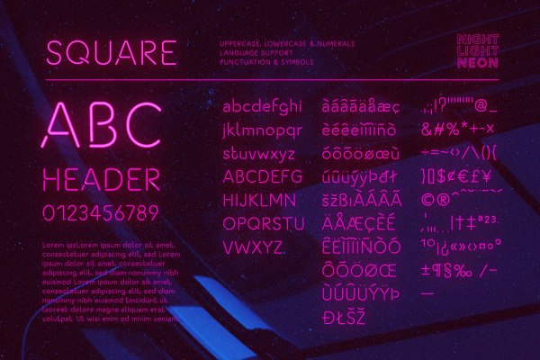 Neon Font - Square by Wing's Art Studio