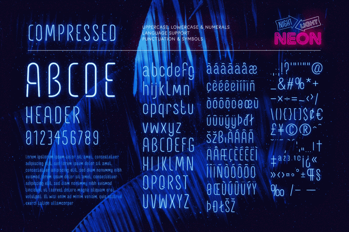 Retro Neon Font Collection Compressed Style