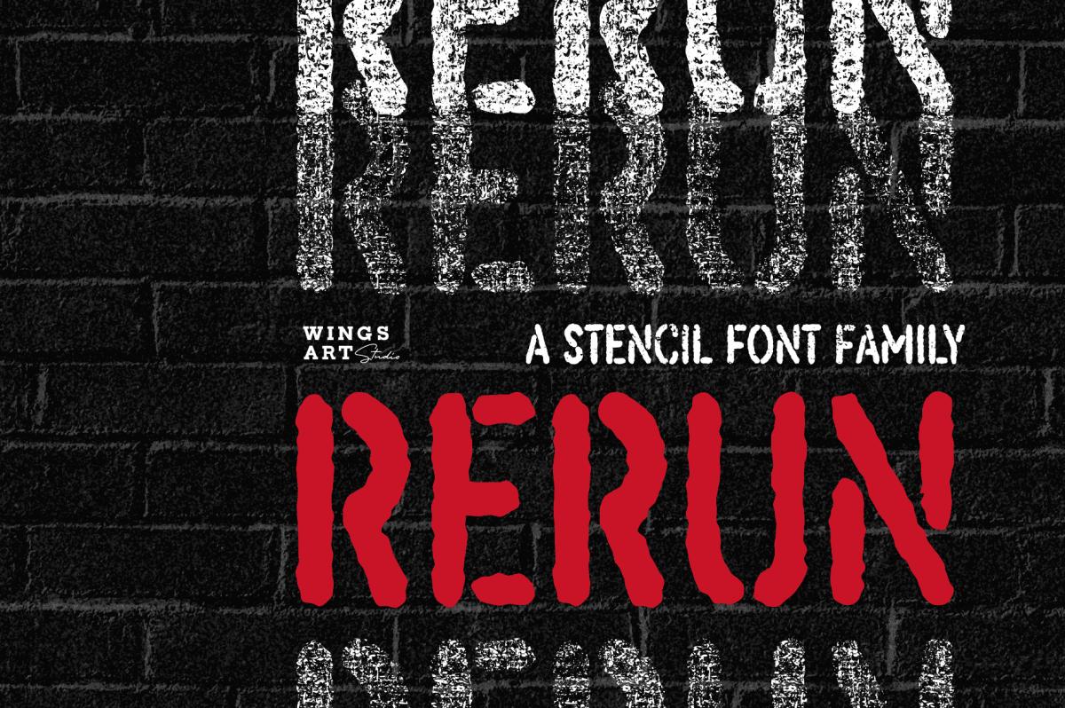 ReRun - A Stencil Font Family by Wingsart Studio