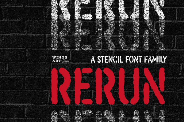 ReRun - A Stencil Font Family by Wingsart Studio