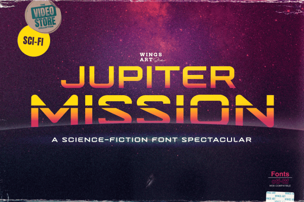Jupiter Mission: A Science-Fiction Font Spectacular by Wingsart Studio