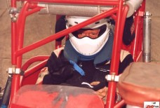 Rod Rothgarn sits in his supermodified at New Paris Speedway