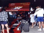 Fans gather around Russ Wood supermodified at 1994 ISMA Indianapolis Raceway Park exhibition