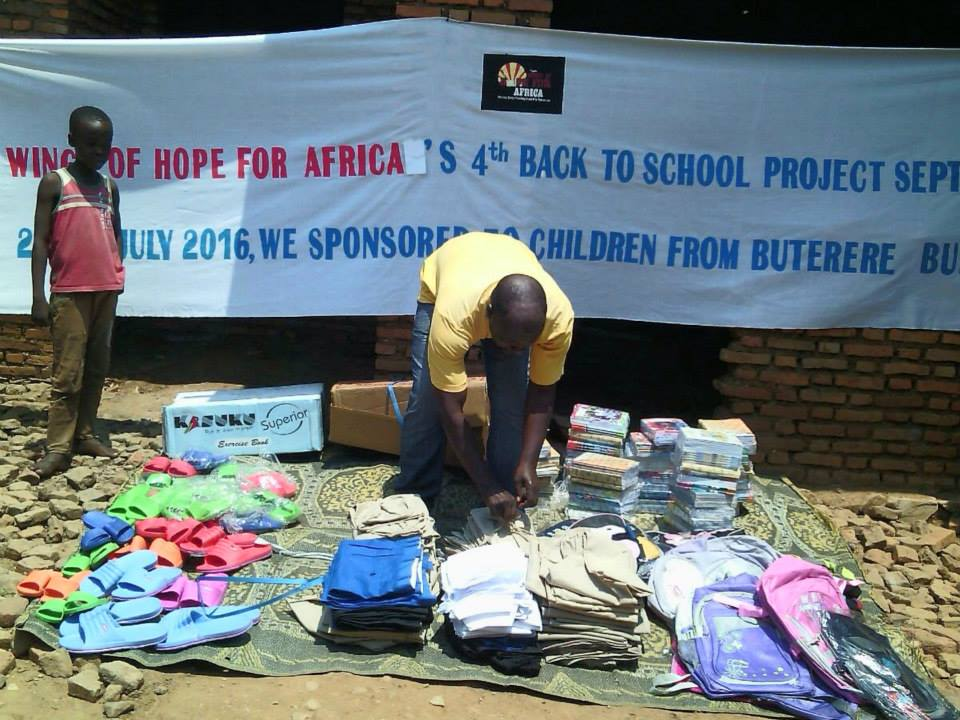 "Wings of Hope for Africa ""Back to School"" program - supporting education and children's welfare in Buterere, Burundi"