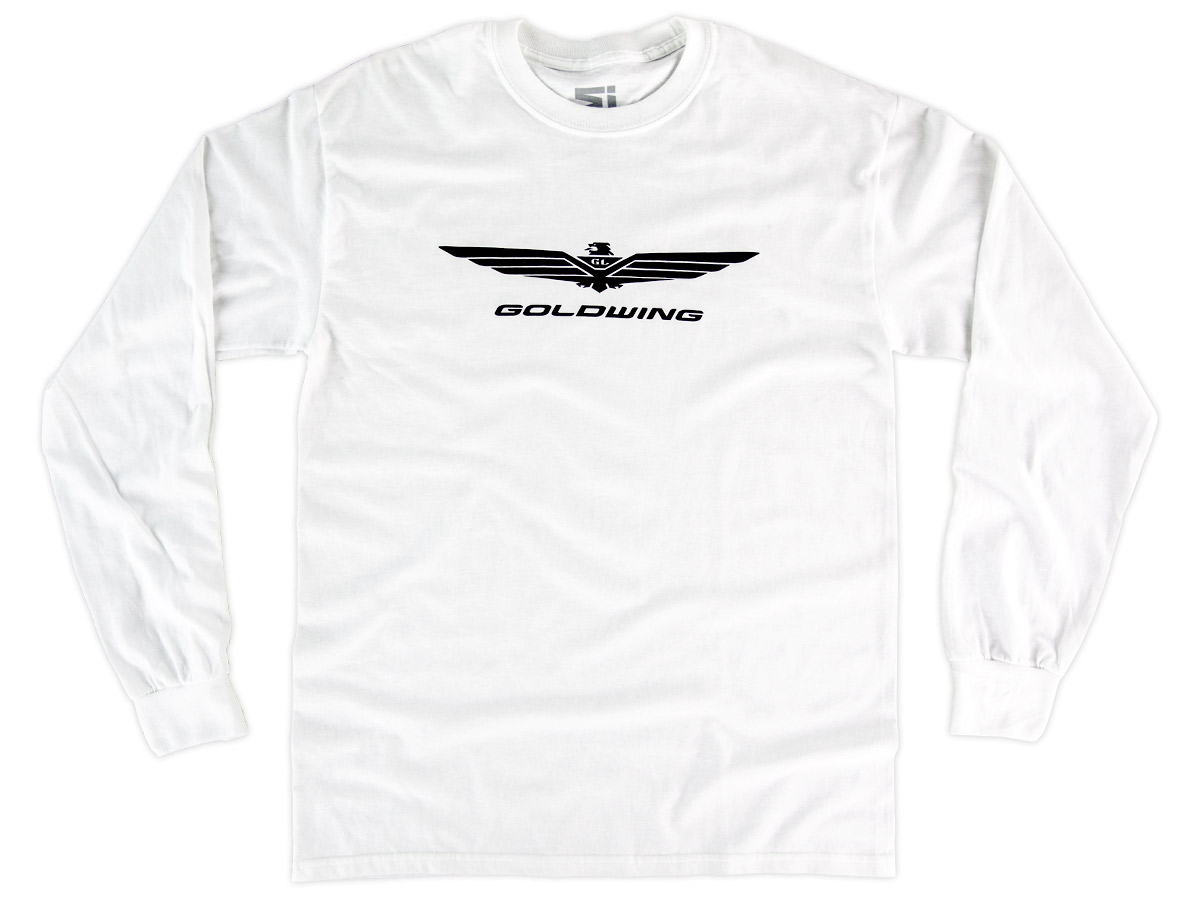 Mens Basic White Long Sleeve Shirt W Goldwing Logo