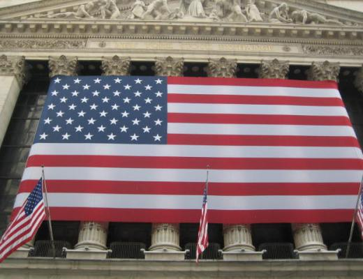 Big American flag at the New York Stock Exchange, Wall Street