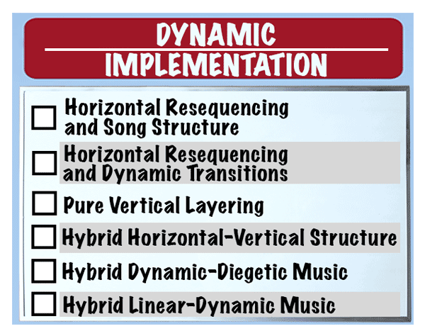 The Dynamic Implementation bullet list, as used in the GDC 2021 lecture given by award-winning game composer Winifred Phillips.
