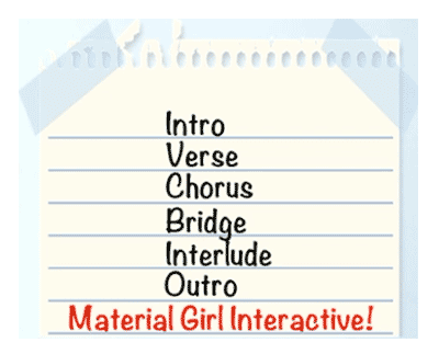 A summary image showing the list of song-structure segments used by the dynamic implementation system for the cover version of Madonna's Material Girl (as discussed in the article by video game composer Winifred Phillips).
