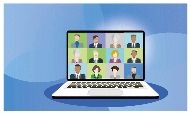 An illustration accompanying a discussion of video conferencing for development teams, in the article about the GDC Showcase lecture given by video game music composer Winifred Phillips.