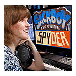 Photo shows game composer Winifred Phillips in her music production studio.