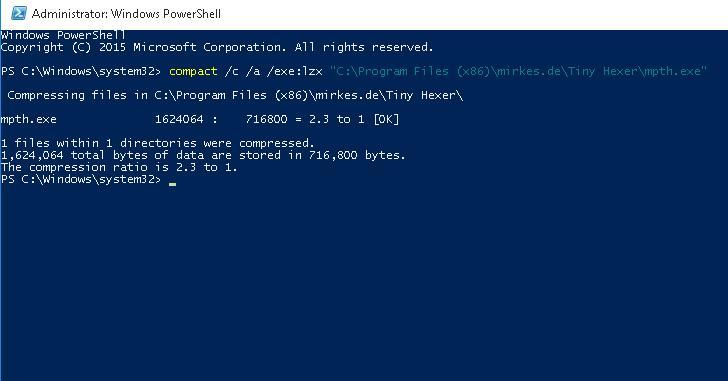Сжимаем файлы с помощью утилиты compact по алгоритму LZX в Windows 10