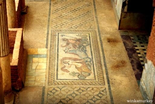 Mosaico hallado en las casas de terraza