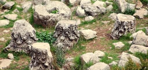 Restos de columnas exparcidos por el suelo del lugar