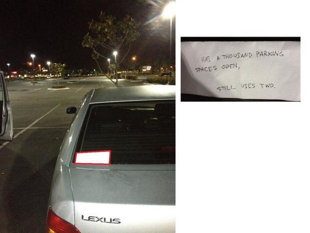 22 Bad Parking Jobs - Has a thousand parking spaces open, still uses two.