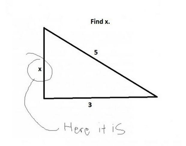 29 Funny Test Answers - Find x.