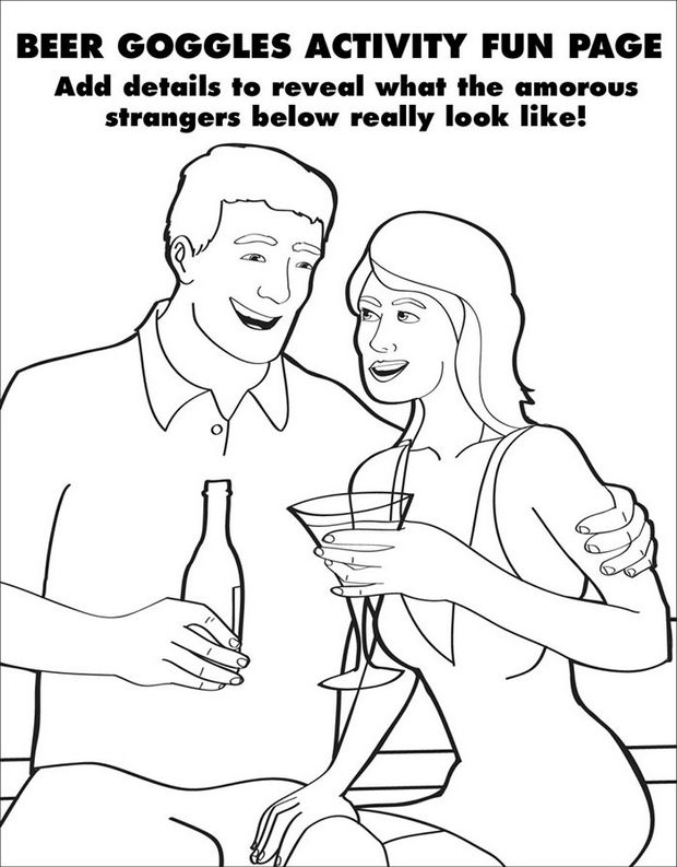 Coloring Books for Grownups - Beer goggles activity fun page