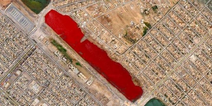 25 Weird Things Found on Google Maps - A creepy lake full of red water.