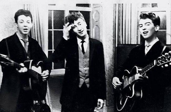 Paul McCartney, John Lennon, and George Harrison performing at a wedding reception in 1958.