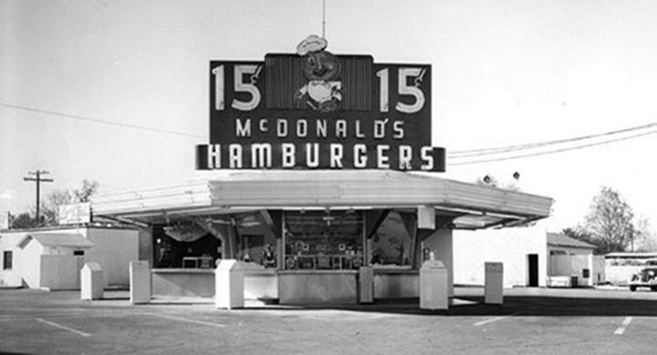 One of the first McDonald's restaurants opened in 1948 and had 9 items. The staple of the menu was their 15-cent hamburger. They added their now world-famous fries to the menu in 1949.