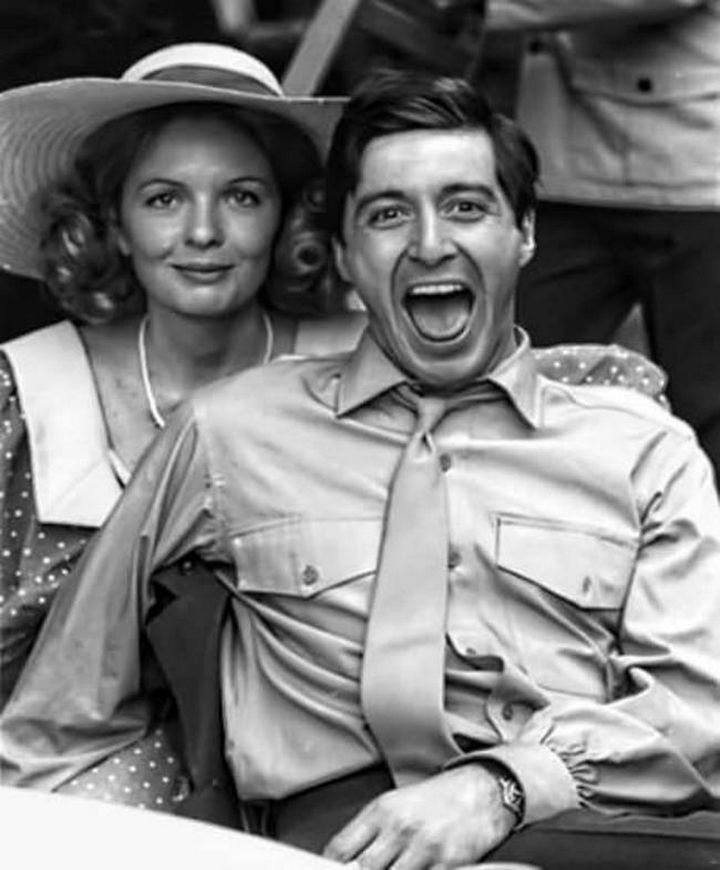 Diane Keaton and Al Pacino on set of The Godfather in 1972.