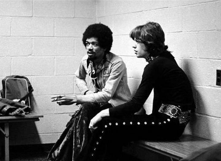 Jimi Hendrix and Mick Jagger backstage at Madison Square Garden in 1969.