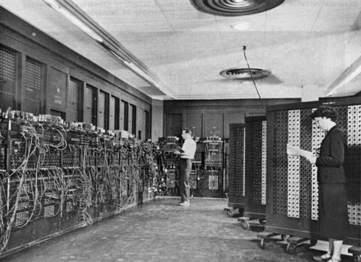 Unveiled in 1946, the US-built ENIAC (Electronic Numerical Integrator and Computer) was the first digital computer ever made and covered an area of 680 square feet.