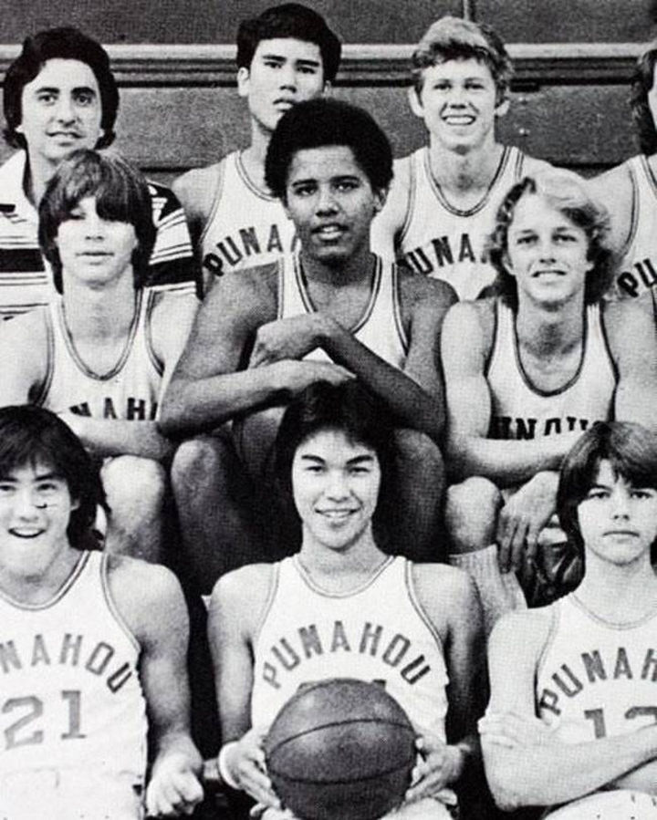 Barack Obama pictured with his basketball teammates at Punahou School in Honolulu, Hawaii.